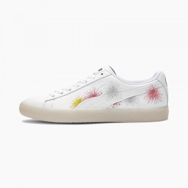 PUMA Clyde NYE Dames Sneakers Wit/Zilver/Rose Goud 381019-01