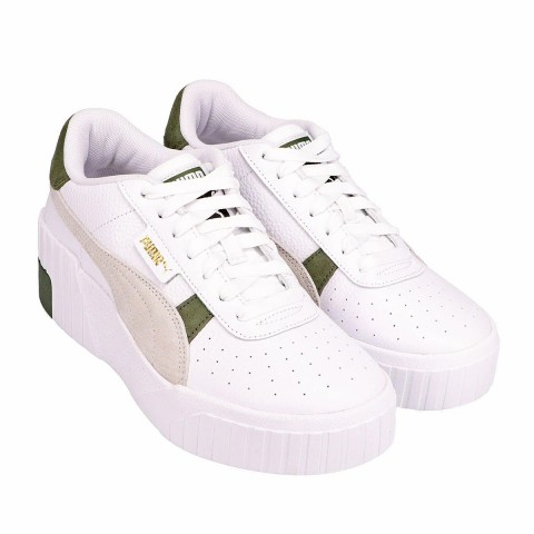PUMA Cali Wedge Mix Dames Sneakers Wit/Thyme 373906-01